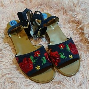 Kenneth Cole blue floral slide sandal ankle strap